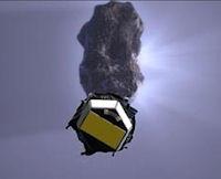 Concepto artístico del encuentro que la nave espacial tuvo previamente con el cometa Tempel 1.